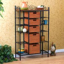 Sei Bakers Rack Manilla 3 Drawer Rattan Bakers Rack With Basket Storage Hayneedle