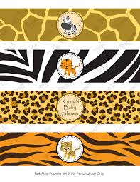 printable safari baby shower water bottle wrappers from