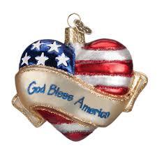 world ornaments god bless america glass