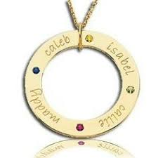 mothers necklace with kids birthstones circle mothers necklace with kids names and birthstones