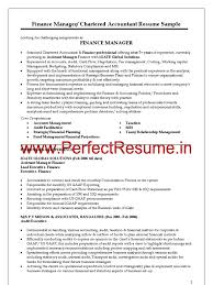 Tax Manager Resume Finance Manager Chartered Accountant Resume Sample Audit