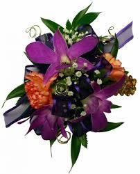 wrist corsage purple orchid orange mini carnations wrist corsage in akron pa