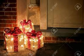 lighted decorated gift boxes with bows and festive
