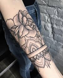 female tattoo arm sleeves forearm design with mandala and roses pin morganxwinter tattoo