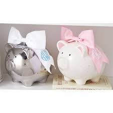 personalized silver piggy bank silver piggy bank with monogrammable bow mud pie
