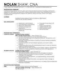 resume summary of qualifications for a cna cna resume summary certified nursing assistant exle