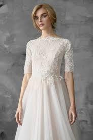 a line scoop court train 3 4 length sleeve lace wedding dresses uk