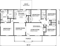 4 bedroom 1 story house plans simple 4 bedroom house plan shoise