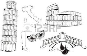 famous landmarks of italy black and white sketch royalty free