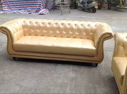 Leather Button Sofa Europe Type Golden Leather Button Tufted Upholstered Sofa Set