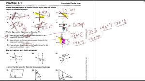 geometry practice 3 1 properties of parallel lines worksheet