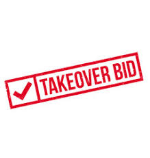 takeover bid takeover bid rubber st royalty free vector image