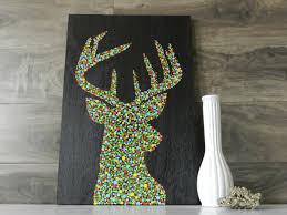 deer antlers wood wall art 18 x 12 wooden sign