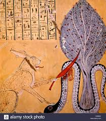 painting of a rabbit eared cat associated with the sun god ra