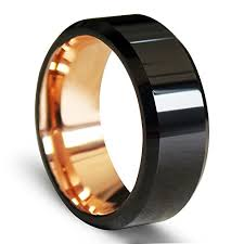 types of mens wedding bands ezreal black beveled tungsten carbide rings with comfort fit