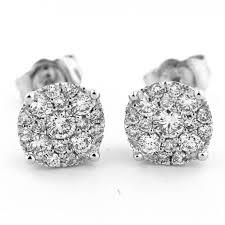 gold diamond stud earrings ct diamond stud earrings 10k white gold 7 5mm wide cluster 1 5ct