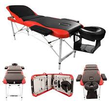 zimtown 3 fold portable aluminum massage table bed for