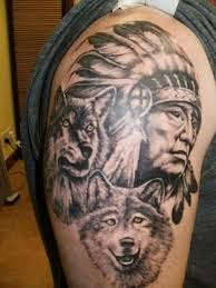 indian tattoo beautiful chief n wolf on shoulder pilt