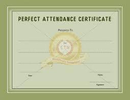 perfect attendance certificate certificate template