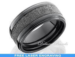 black zirconium wedding bands black zirconium meteorite inlay mens ring 10mm meteorite wedding