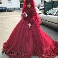 islamic wedding dresses 3d flower burgundy muslim wedding dresses 2018 arabic custom plus