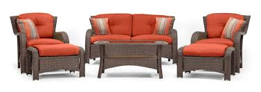 sawyer 6pc resin wicker patio furniture conversation set orange