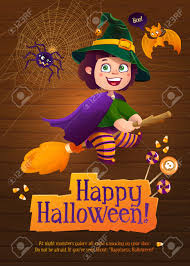 cute happy halloween images happy halloween witch flying on broom greeting card with