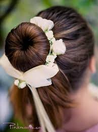 flowergirl hair bun wrap for flower girl