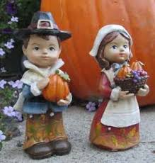 thanksgiving pilgrim statues pilgrim boy and girl with pumpkins and harvest 4 5 inch