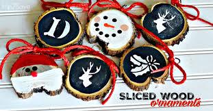diy sliced wood ornaments hip2save