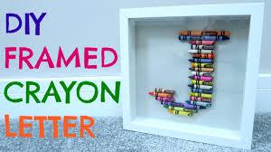 diy framed crayon letter youtube