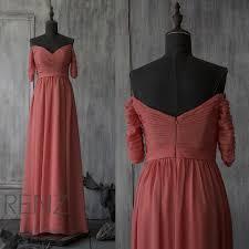 2015 coral off the shoulder bridesmaid dress long sleeve wedding
