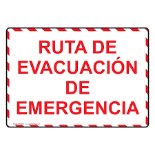 Fire Evacuation Route Plan by Emergency Evacuation Route Spanish Sign Nhs 6725 Emergency Response