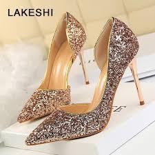 wedding shoes glitter lakeshi women pumps bling high heels women pumps glitter high heel