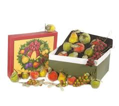 set of 24 beaded fruit ornaments with decorative box by valerie
