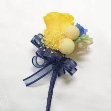 Royal Blue Corsage And Boutonniere Wrist Corsage Wc25 Royal Blue And Yellow U2013 Endura Flora