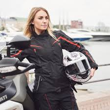 mc jacket sweep talya waterproof ladies mc jacket black red motorbike