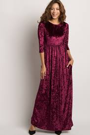 velvet dress burgundy crushed velvet 3 4 sleeve maternity maxi dress