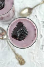 blueberry hibiscus panna cotta with wild blackberry swirl