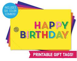 happy birthday card printable gift tag bundle