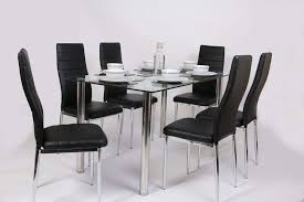 glass square dining room table set and 6 chairs faux leather