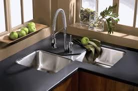 Yellow Kitchen Sink White Coffered Ceiling Yellow Backsplash Tile Black Wood Bar Stools