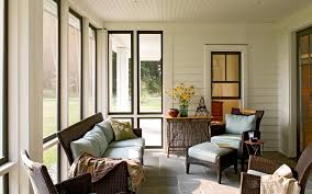 screened porch furniture with wood siding porch farmhouse and