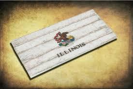 handmade distressed wooden illinois state flag vintage art