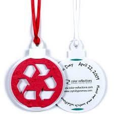 globe recycle symbol or custom seed paper ornaments