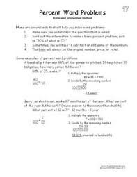 percent word problems 5th 8th grade worksheet lesson planet