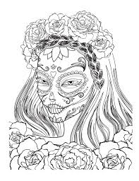sugar skull colouring page by tearingcookie on deviantart