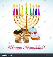 hanukkah candles colors postcard greetings festival lights feast dedication stock vector