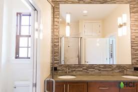 master bathroom with granite countertops backsplash and huge