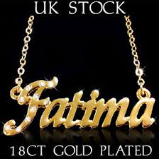 Arabic Necklace Name Fatima Name Necklace 18ct Gold Plated Asian Arabic Personalised